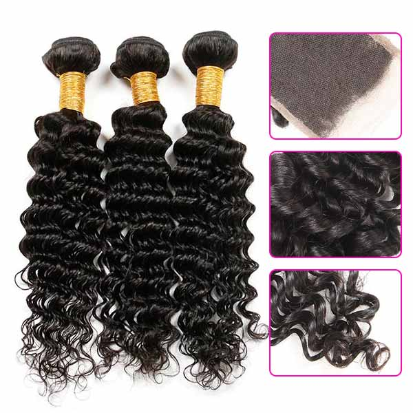 8A Malaysian Deep Wave Human Virgin Hair Weave 3 Bundles With Lace Closure