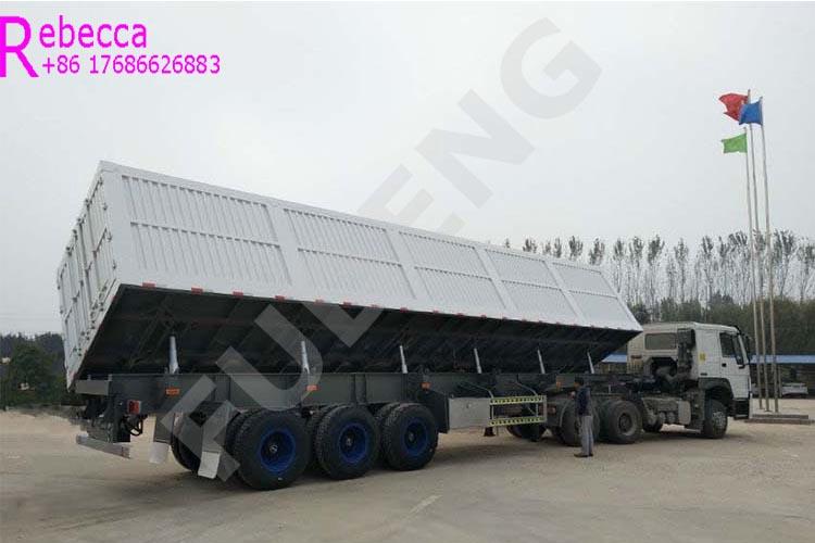 3 axle 30 cubic meters side dumper trailers 40 tons side tipper dump semi trailer