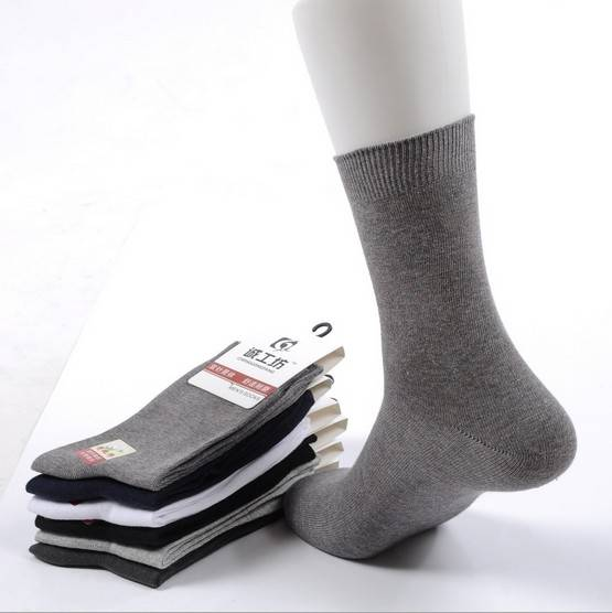Wholesale Solid-colored Men's Crew Cotton Socks