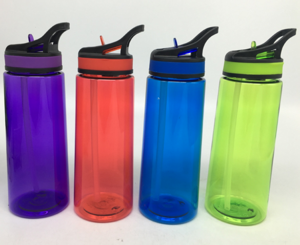 Plastic space sport outdoor shake bottle with straw and nozzle BPA free