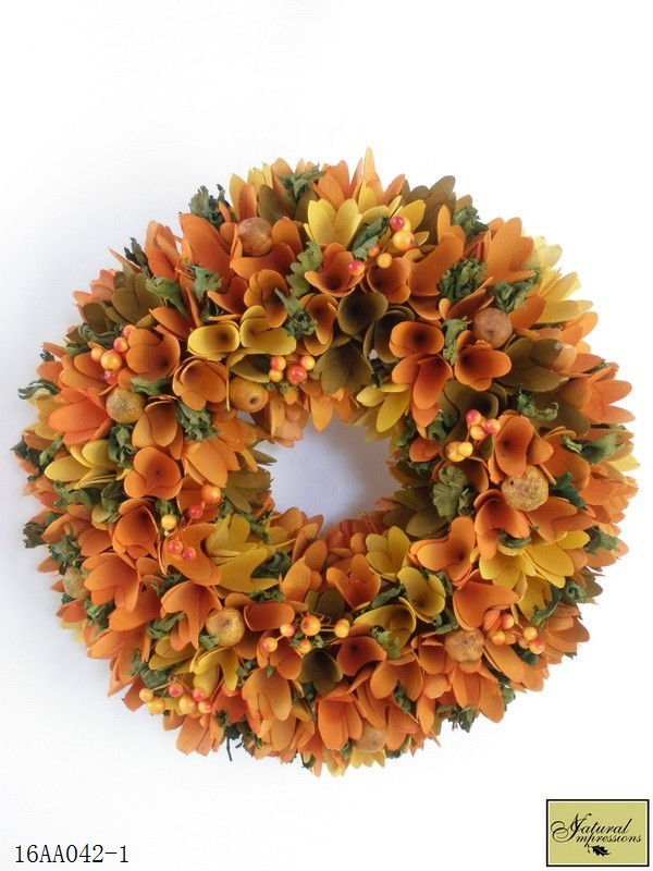 Orange Wood Curl And Berries Wreath