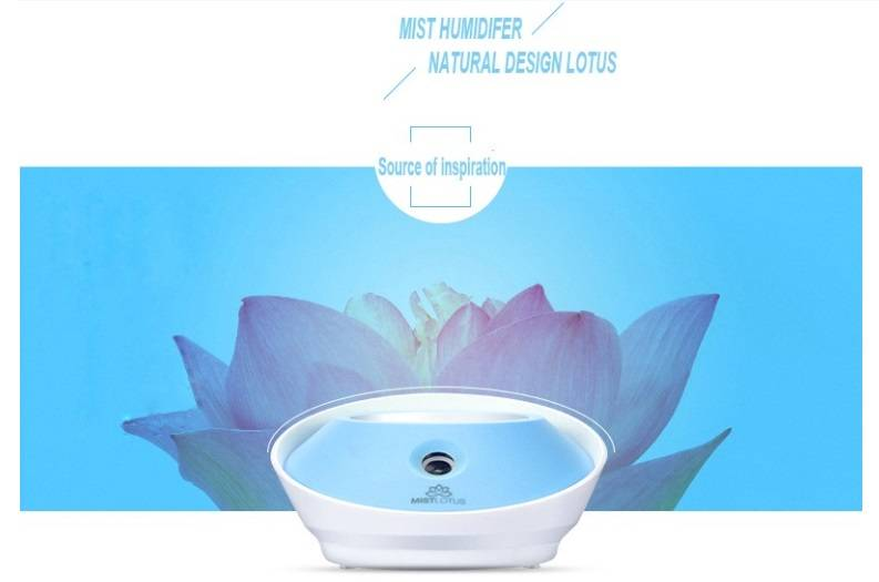 wholesale mini cute mist lotus Atomizer Air Humidifier with moonlight