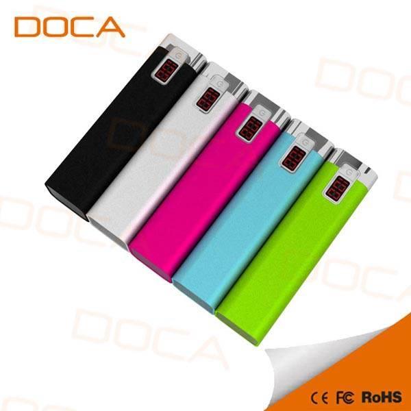 DOCA 2016 latest slim portable Li-polymer 2600mAh power bank for phones