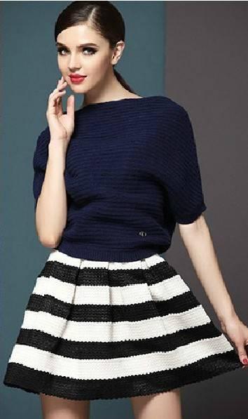 2014 New Popular Black And White Stripe High Waisted Elastic Ball Gown Plus Short Skirt For Women Bu