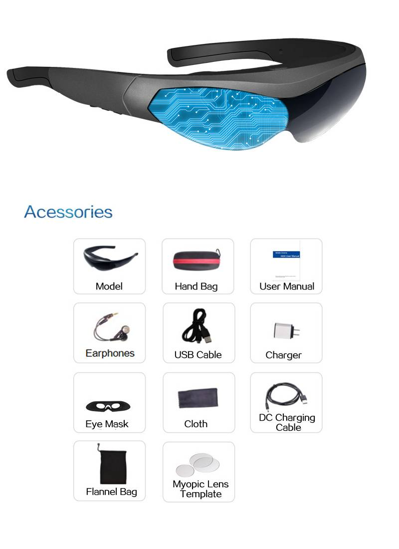 Android 4.4 Touch Screen Video Glasses, Glass Customized Version, WIFI , Bluetooth Connect