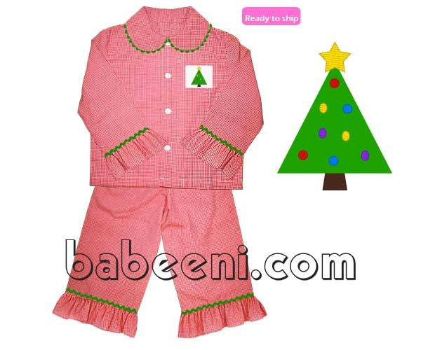 Lovely X-mas tree smocked girl pajamas - BB445