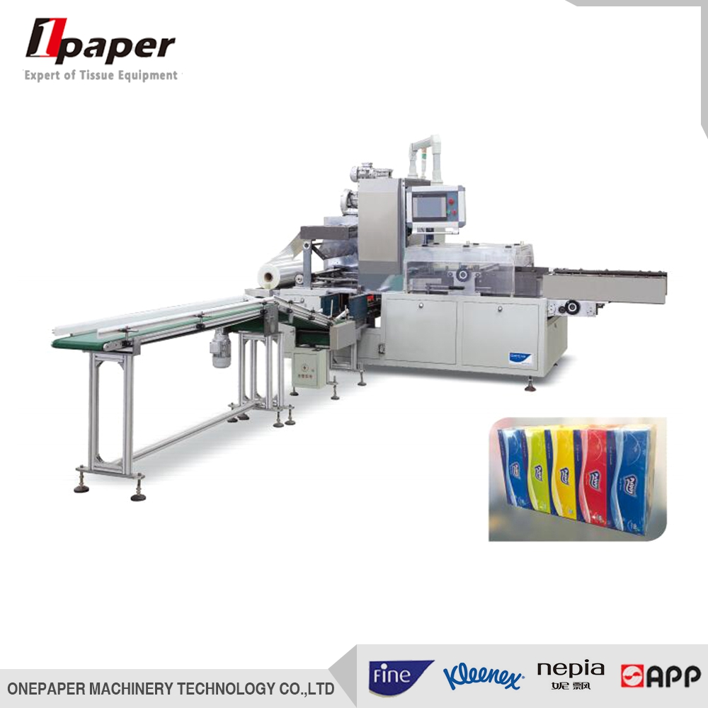news autoamtic cellophane box type tissue paper meidum bag over wrapping machine