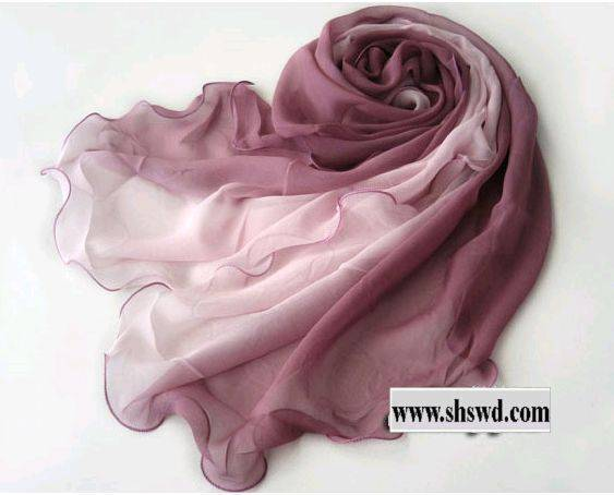 100% silk scarf,fashion gradient,5 colors in