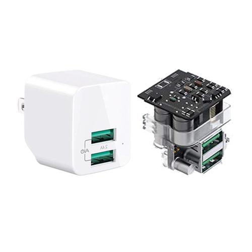 Tiensun PCBA Mini Foldable 2.4A Dual Port Travel Charger Wall Charger