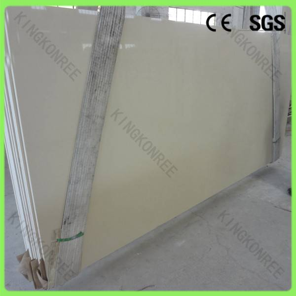 Beige color artificial stone quartz slab