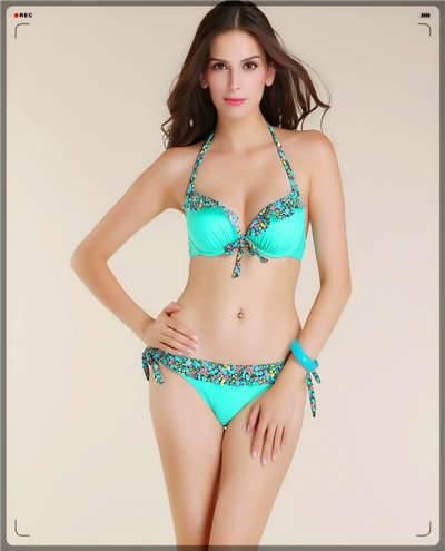 2014 newest bikini,solid color bikini ,with floral lace bikini swimwear