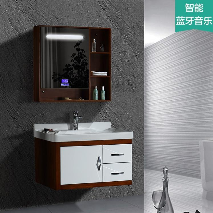 New style oak bathroom vanity with bluetooth music player and hydraulic buffer hinge