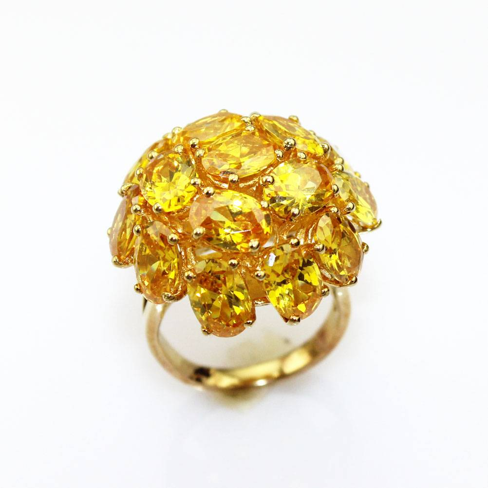 925 Sterling Silver with 18k Gold Plated Citrine Ring (FR052)