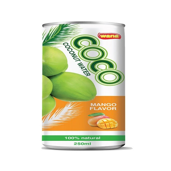 Organic Coconut Water With Mango Flavor in Can 250ml