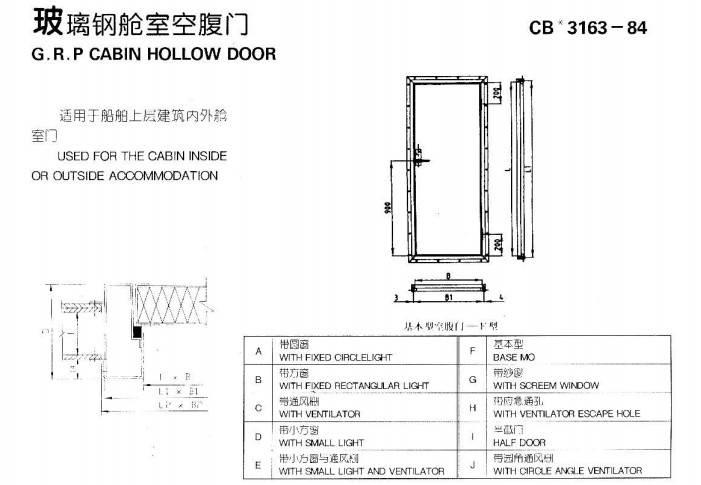 G.R.P cabin hollow door