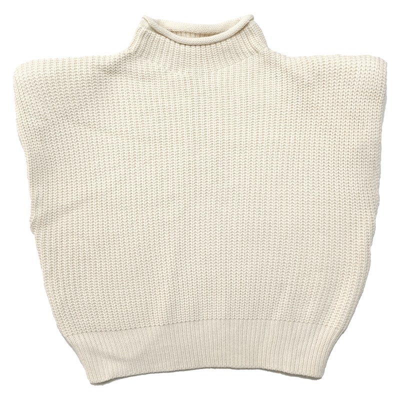 Sleeveless Sweater with Shoulder Pads for Women in Spring 2021 Top Loose-Fitting Slimming Semi-Turtl