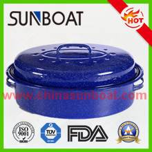 "large capacity 18"" cast iron customized color enamel roaster pan"