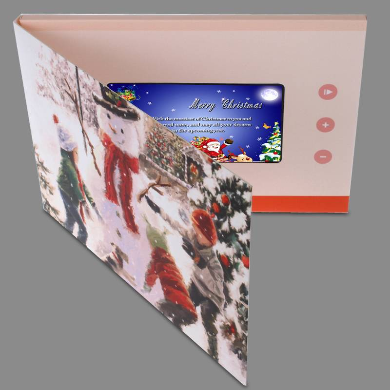 "high quality 4.3"" Christmas greeting card with lcd,video greeting card for Christmas gift"