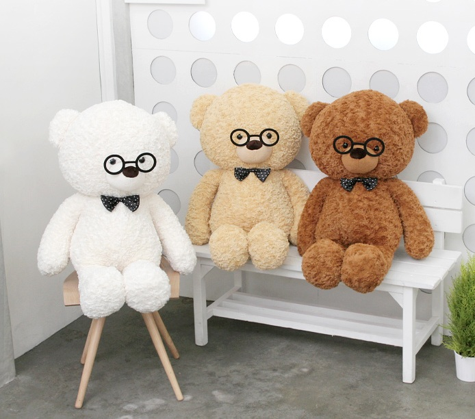 teddy bear with glasses on