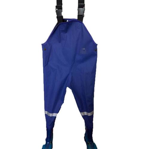 Blue PU waders for kids with Seal PVC boots