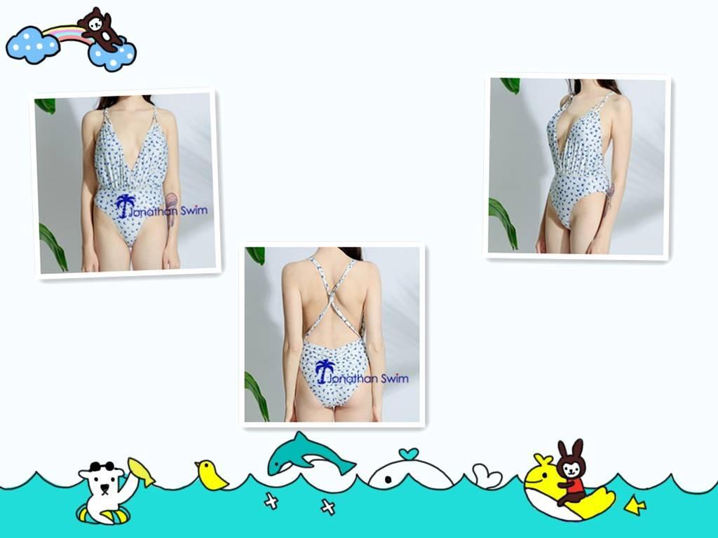 2017 Women's sexy deep V butterfly print one piece swimwear.