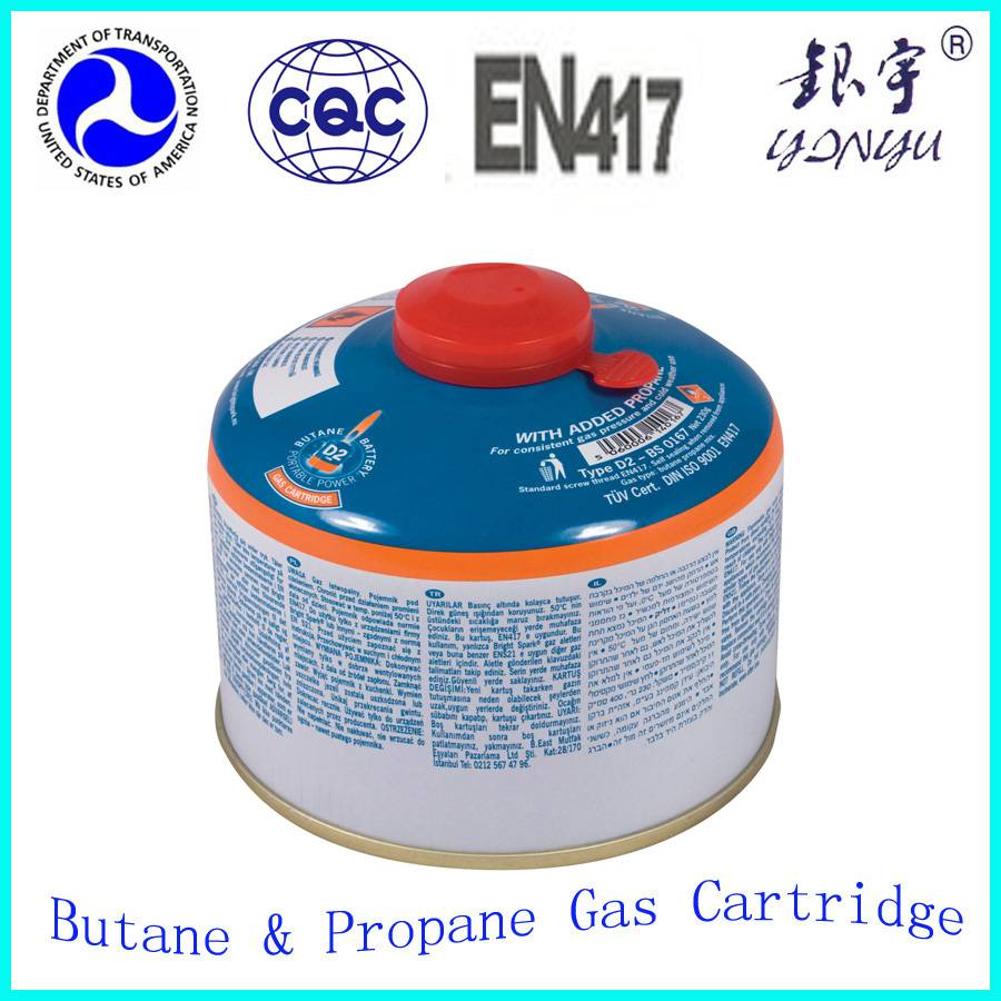 butane & propane gas canister with screw valve used for portable gas stove