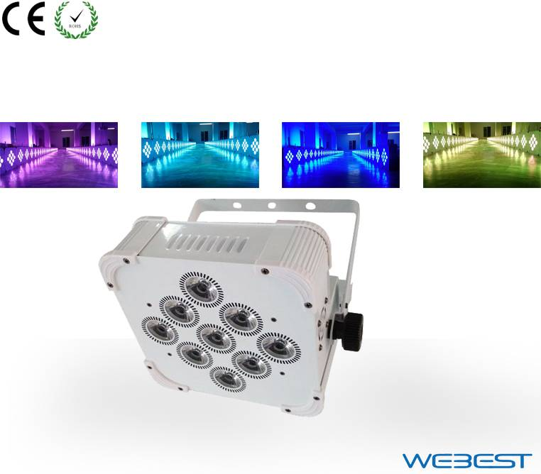 Rechargeable Wireless DMX 9 lens 6W RGBAW-UV 6in1 LED Flat Par