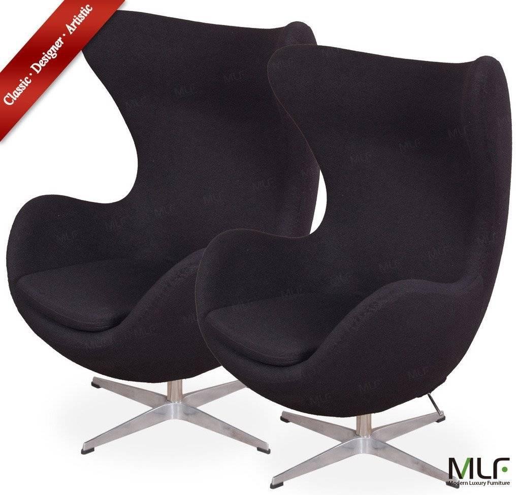 Black wool fabric Replica Arne Jacobsen Egg Chair