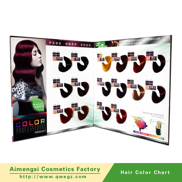 Hair color chart for hair color cream