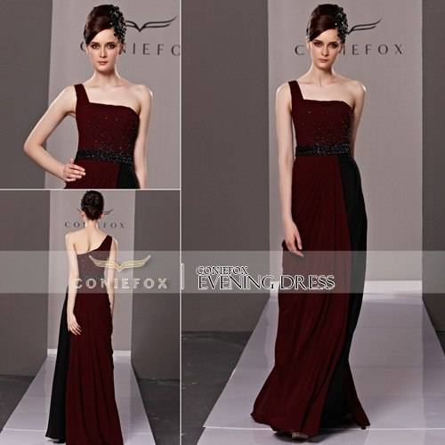 Coniefox Brand New Brown One Shoulder Sexy Party Dresses 81335