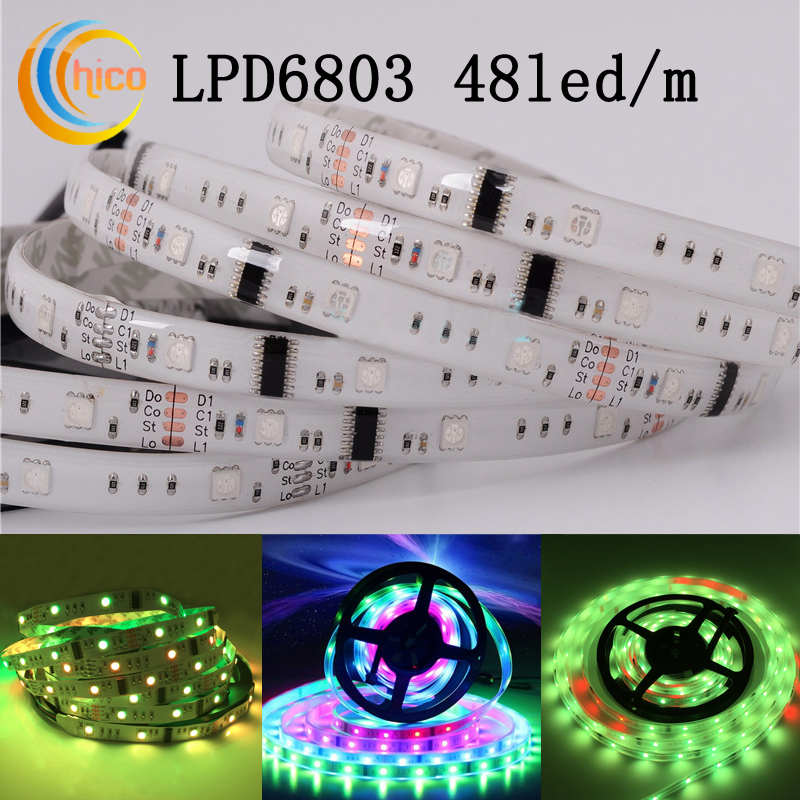 led strip lights LPD6803 SMD 5050 RGB led strip Waterproof IP67 Black/White PCB DC12V