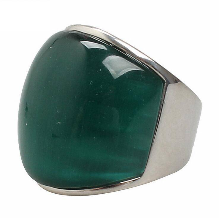 316L stainless Steel Oval big stone ring cat's eye Cocktail Ring woman vintage ring Size US 7~14