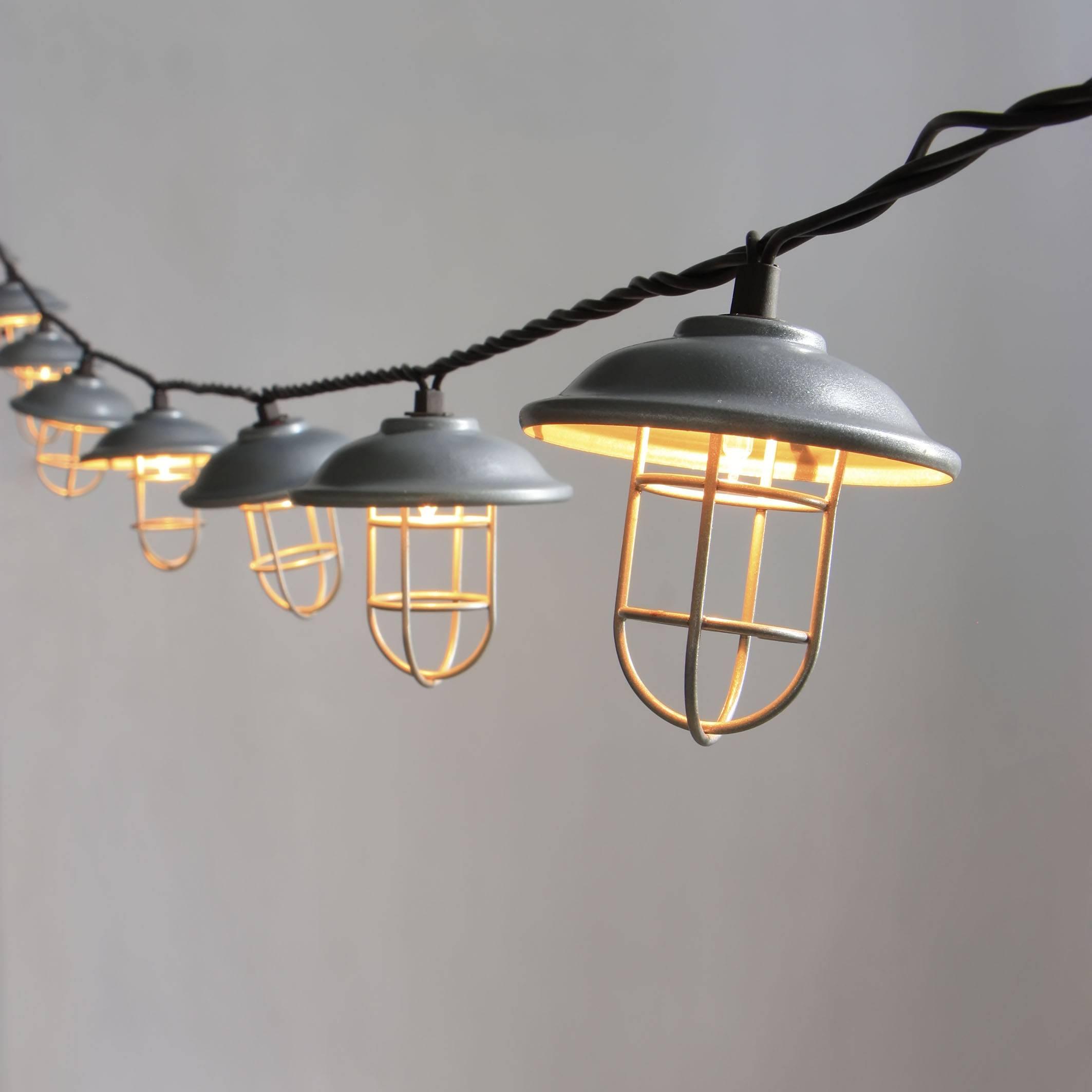 Garden Decorative Galvanized hood & wire cage string light KF01696
