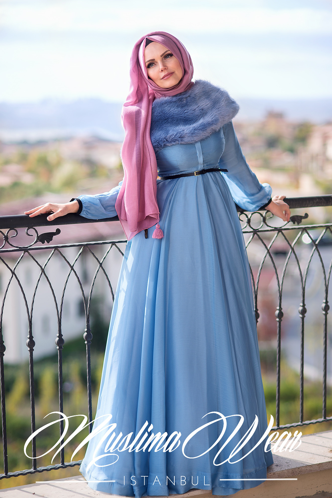 Muslima Wear Silver Blue Chiffon Dress
