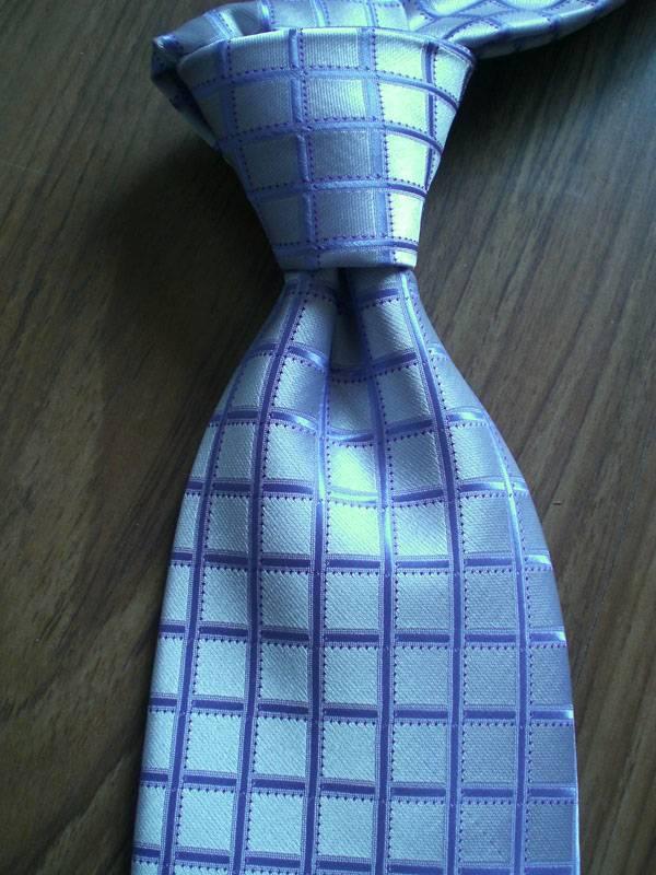 Blue Grid Woven Neck tie