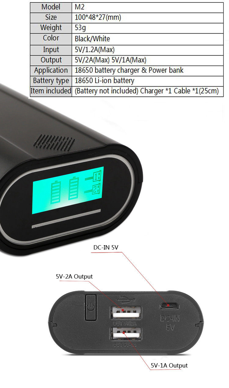 Innovative multifunction product: 18650 Li-ion battery charger plus power bank M2
