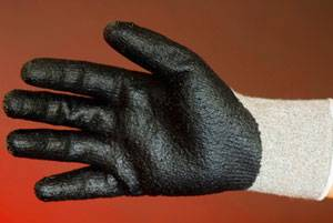 Gloves or 20-PL274D Grey polyester knitting gloves black Nitrile coated on palm