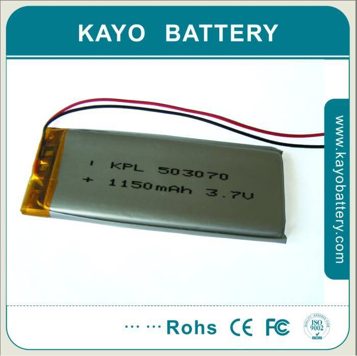 GPS Lithium-ion Polymer Battery with 3.7V 1100mAh, 053070