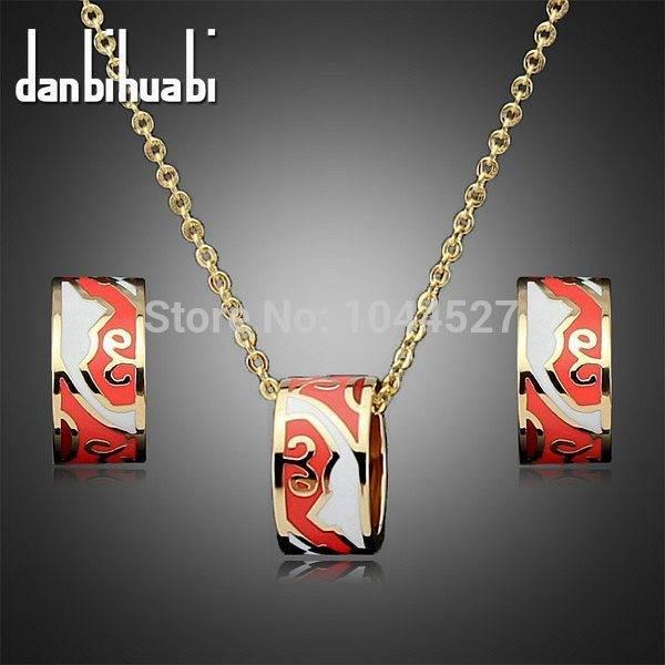 Good quality! The newly designed round shiny enamel colorful ladies necklace earrings set bridal set