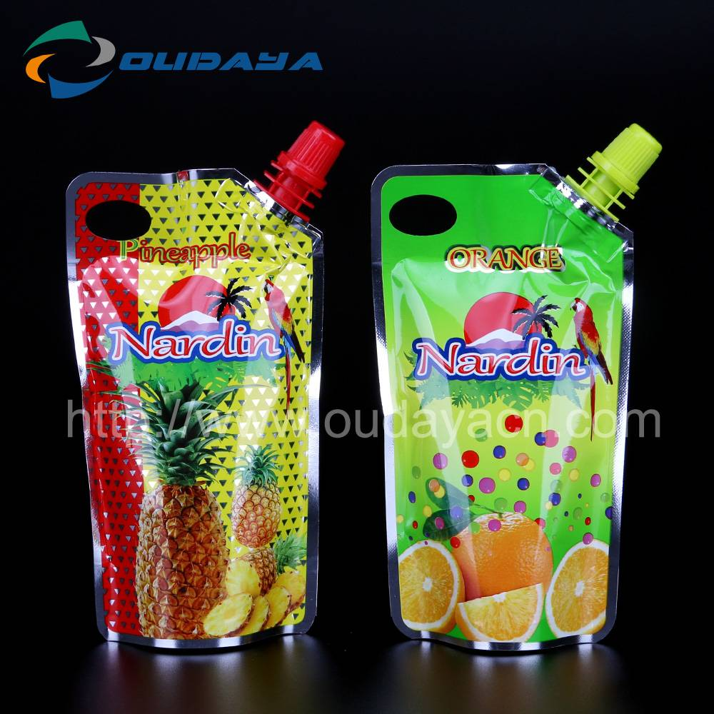 Low price spout bags for juice beverage packing manufactory