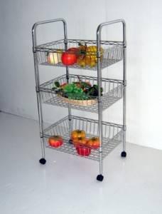 Adjustable DIY Kitchen Metal Wire Basket Trolley Rack
