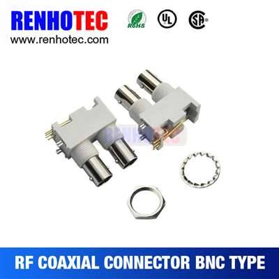 Right Angle White Plastic Two Jack BNC Connector In One Row For PCB Mount