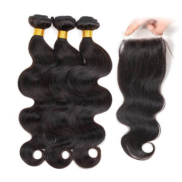 8A Peruvian Body Wave Human Virgin Hair Weave 3 Bundles With Lace Closure