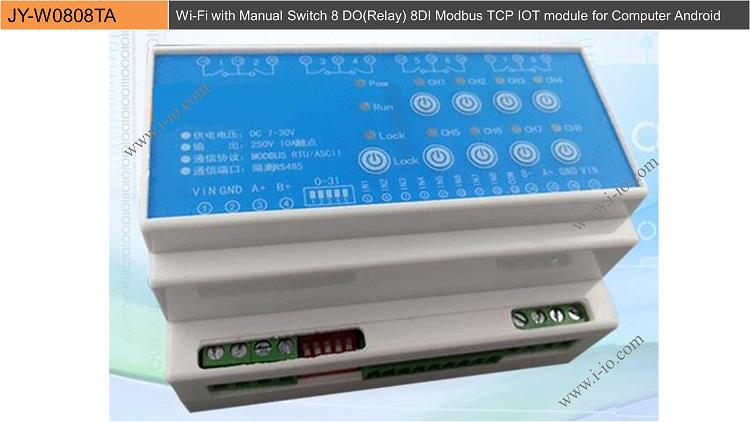 JY-W0808TA Wi-Fi with Manual Switch 8 DO(Relay) 8DI Modbus TCP IOT module for Computer Android