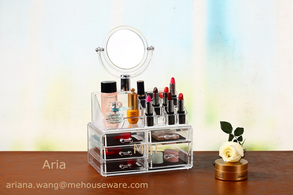 Wholesale Acrylic Makeup Organzier With 5 Drawer and Top with Mirror