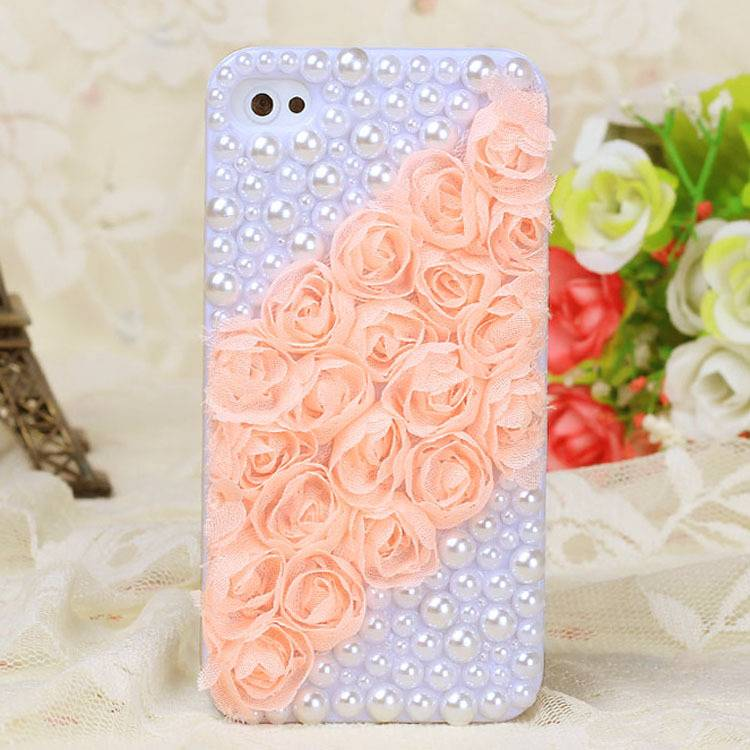 Rose lace, pearls twill Mobile phone
