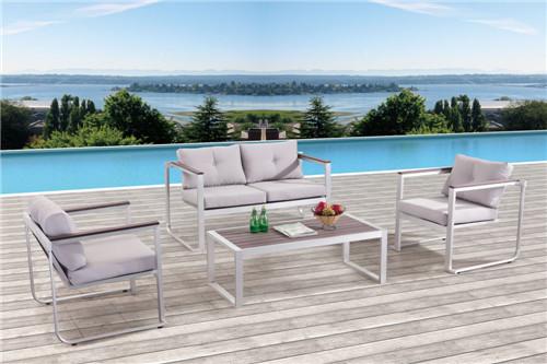 Brushed aluminium polywood sofa garden furniture set