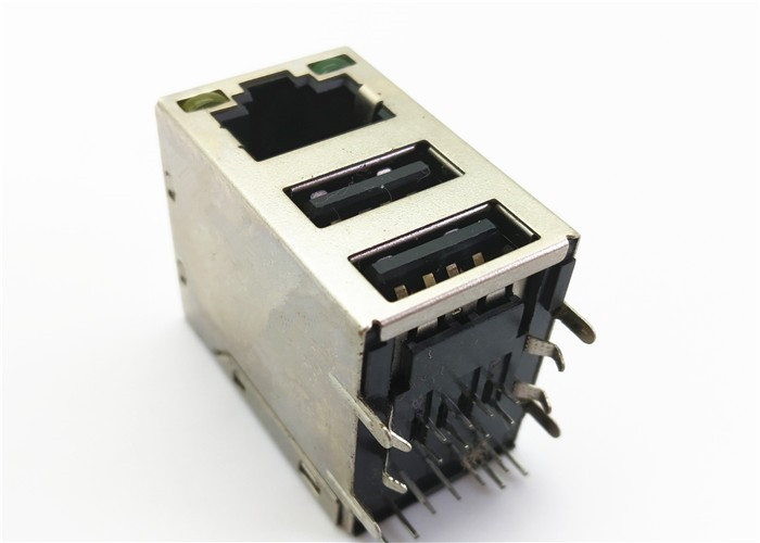 LED RJ45 Modular Jack Dual USB Combo For 10 / 100 / 1000 Base - TX Saving PCB Space