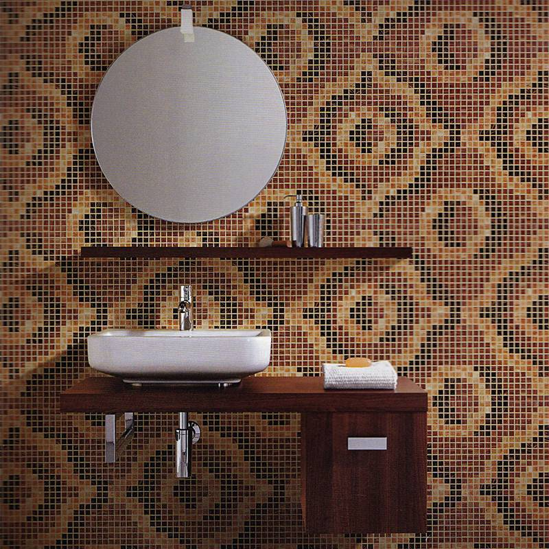 Velvet Light Brown JY-P-V03 Bisazza Brown Mosaic Pattern Glass Mosaic Bathroom Tile Design