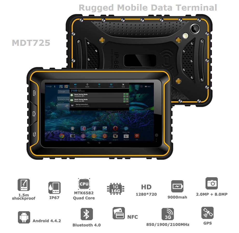 """7"""" Rugged IP68 GPS/3G Android OS Mobile Data Terminal"""